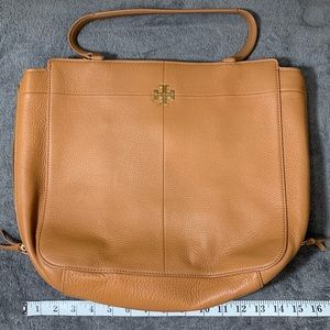 Tory Burch Ivy Side-ZIP Tote in Bark Color Leather